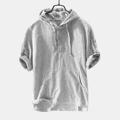 Mens 100% Cotton Summer Breathable Half Sleeve Henley Hoodies T shirt