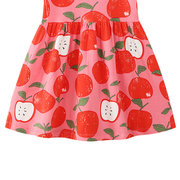 Яблоко с принтом для девочек Платья без рукавов из хлопка на 1-9 лет