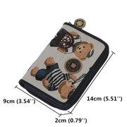DANNY BEAR Women Jacquard Cloth Short Wallet Cute Bear One-Pull Coin Purse
