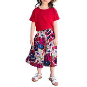Flower Girls Kids Casual Short Sleeve T-Shirt + Pants Clothing Set For 4Y-13Y