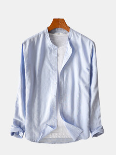 Mens Cotton Classic Brief Solid Color Breathable Long Sleeve Stand Collar Casual Fashion Shirt