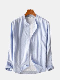 Algodón para hombre Classic Breve Color sólido transpirable Manga larga Cuello alto Moda casual Camisa