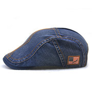 Mens Unisex Vintage Washed Cotton Berets Hat Leisure Breathable Visor Curved Brim Flat Caps