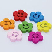100Pcs Smile Shaped Wooden Sweing Buttons Clothing Accessories DIY Crafts
