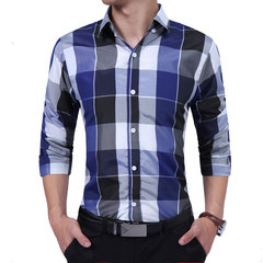 Mens Business Decent Plaid Patchwork Umlegekragen Langarm Top Casual Baumwollhemden