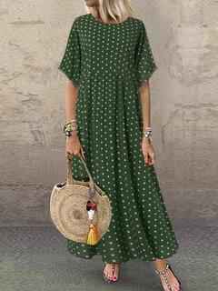 Polka Dot Print Short Sleeve Plus Size Maxi Dress with Pockets