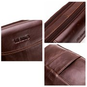 Vintage Genuine Leather Large Capacity Multi-function Phone Waist Bag Crossbody Bag For Men