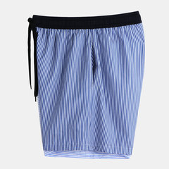 Mens Contrast Color Striped Board Shorts Thin Loose Quick Dry Drawstring Casual Beach Shorts