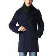 Mens Winter Thick Warm Long Coat Double-breasted Turndown Collar Slim Fit Outwear