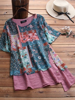 Floral Print Patchwork Irregular Plus Size Casual T-shirt