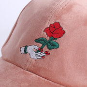 Women Silk Velvet Rose Embroidery Baseball Hat Outdoor Sport Sunshade Hip Hop Caps Adjustable
