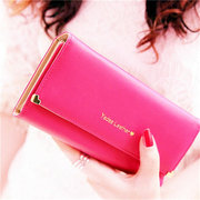 Women Fashion Candy Color Cluch Matte Leather Long Wallet