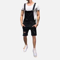 Men's Washed Denim Overalls Suspenders Bore Ripped Casual Jeans Shorts
