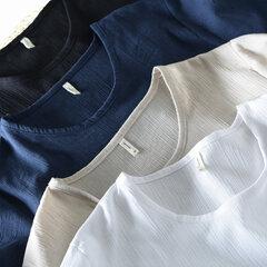 Men's Casual Soft Cotton Linen T-shirt Loose O-neck Tops Short Sleeve Tee Shirt