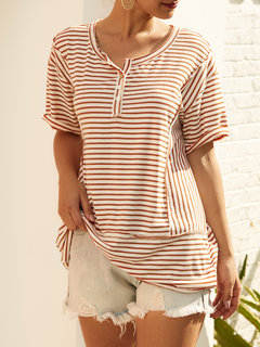 Casual Print Striped Summer Front Button T-Shirt