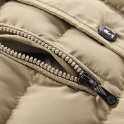 Solid Color Mid Long Hooded Warm Puffer Cotton Padded Coat for Men