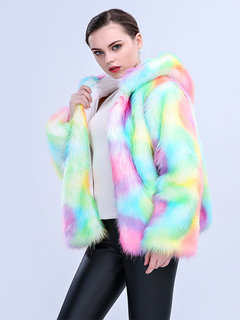 Women Christmas Cosplay Colorful Faux Fur Hooded Warm Coats