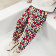 Girls Spring Autumn Floral Pants Leisure Style Kids Trousers Children Clothing
