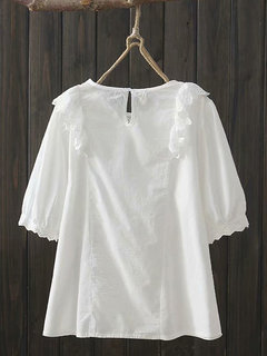 Embroidery Crew Neck Overhead Short Sleeve Cute Lace Blouse