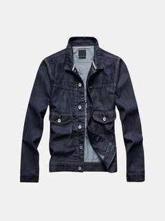 Spring Autumn Personality Vintage Style Solid Color Denim Jackets for Men
