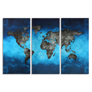 3Pcs Canvas World Map Painting Print Frameless Wall Art Picture Modern Living Room Home Decor