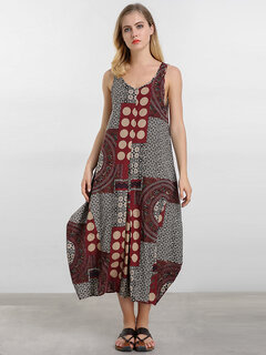 O-NEWE Vintage Printed Sleeveless Lantern Maxi Dress For Women
