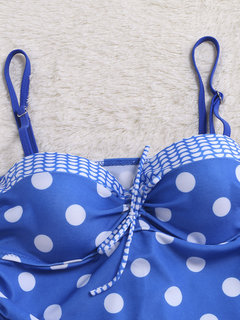 Bow-knot Polka Dot Patchwork sans manches Backless Bikinis Sets