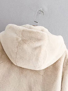 Solid Color Faux Fur Long Sleeve Hooded Casual Coat