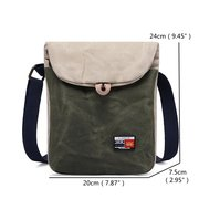 Vintage Casual Shoulder Oil Wax Canvas Crossbody Bag For Men Women