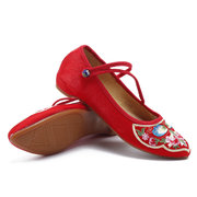 Flower Floways Embroidered Almond Toe Buckle Flat Shoes