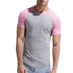 Mens Spring Summer Brief Style Hit Color Round Neck Short Sleeve Slim Fit Casual Sport T-shirt