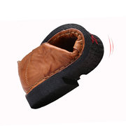 Men Breathable Hand Stitching Slip On Elastic Panels Leather Loafer Shoes