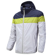 Plus Size Spring Stitching Mixed Colors Breathable Sport Hooded Jacket for Men
