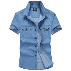 Plus Size Casual Cotton Denim Loose Band Collar Dress Shirts for Men