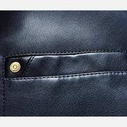 Chaqueta de cuero de imitación de Blazers de bolsillo color puro en el pecho para hombres