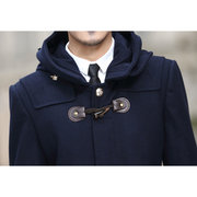 Men's Thick Winter Trench Coat Hooded Collar Jacket Outwear Woolen Pea Coat