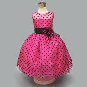 Polka Dot Print Sleeveless O-neck Princess Dress For Kids Girls