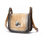 Brenice Cowhide Shoulder Bags Vintage Anti Theft Lock Crossbody Bags