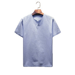 Mens Japanese Linen Cozy Tees Solid Color Regular Fit Casual T Shirts