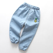 Ricamato Toddler Boys Girl Jeans Denim lungo Pantaloni Per 2Y-9Y