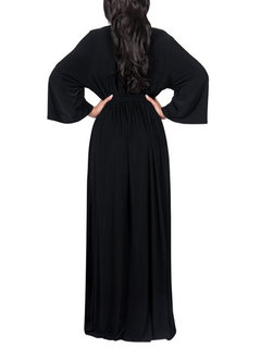 Solid Color Long Sleeve V-neck Maxi Dress