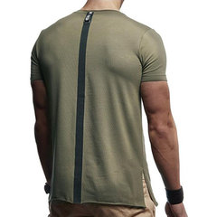 Mens Ribbon Stitching Letter Printed Slim Fit Summer Casual T Shirts