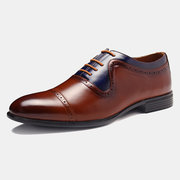 Menico Herren Stylish Color Blocking Brogue Oxfords Schnürschuhe