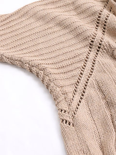 Solid Color Bat Sleeve Hollow Sweater for Women