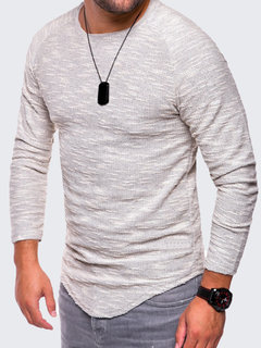 Mens Casual Solid Color Regular Fit Long-Sleeved O-neck T-shirt
