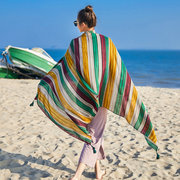 180CM Women's Cotton Stripe Sunshade Summer Beach Scarves Windproof Casual Soft Scarves
