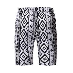 Hommes de style ethnique impression genou Longueur Conseil court cordon de serrage Pocket Hip Hop Casual Shorts