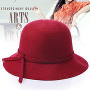 Women Wool Fedora Dome Bucket Hat Elegant British Style Bow Tie Wide Brim Bowler Hat