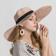 Women's Vogue Large Wide Brim Beach Cap Casual Summer Visor Sun Straw Hats