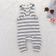 Stripe Unisex Baby Soft Cotton Comfy Sleeveless Romper  For 0-24M